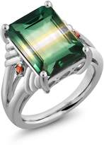 Gem Stone King 7.77 Ct Green Yellow Created Quartz Orange Sapphire 925 Sterling Silver Ring