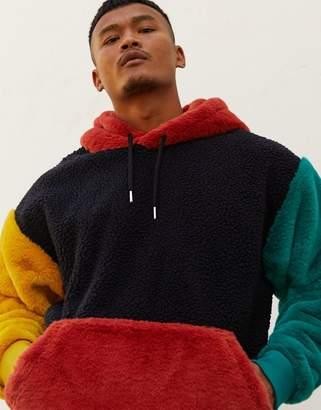 Asos Design DESIGN oversized faux fur & borg hoodie in color blocking-Navy