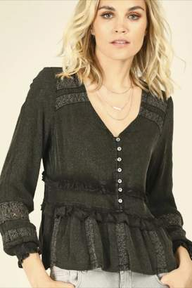 Vintage Havana Washed Black Ruffle-Top