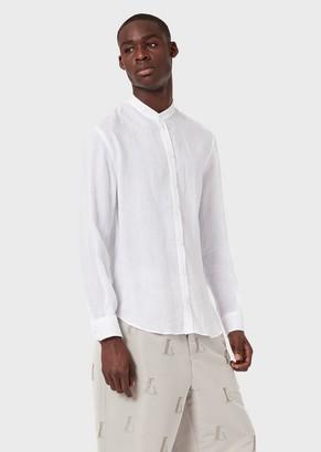 Emporio Armani Linen Chambray Shirt With Guru Collar