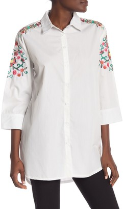 Vertigo Embroidered 3/4 Sleeve Tunic Shirt