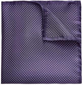 Eton Purple Polka Dots Silk Pocket Square