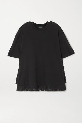 Simone Rocha Lace-trimmed Cotton-jersey T-shirt