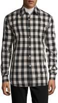Pierre Balmain Men's Checkered Spread Collar Sportshirt