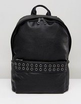 Asos Backpack In Grain Faux Leather With Eyelet Detail