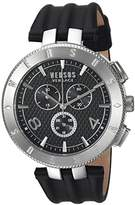 Versus By Versace Men's 'LOGO GENT CHRONO' Quartz Stainless Steel and Leather Casual Watch, Color:Black (Model: S76080017)