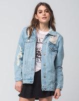 Boom Boom Jeans Oversized Destructed Womens Denim Jacket
