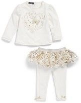 Kate Mack Infant Girl's Embroidered Top & Skirted Leggings Set