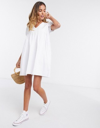 Daisy Street playsuit with skirt overlay and puff sleeves in cotton