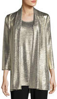 Caroline Rose Reflection Knit Metallic Easy Cardigan
