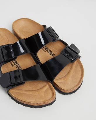 Birkenstock Women's Black Sandals - Arizona Birko-Flor Patent Sandals - Size 35 at The Iconic