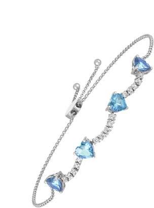 story. My Blue Topaz Heart and Diamond Bracelet - White Gold