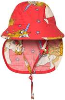 Mini Rodini Red Unicorn Star Sun Cap