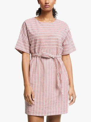 People Tree Christabel Stripe Dress, Red/White