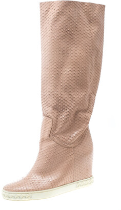Casadei Pale Pink Snakeskin Embossed Leather Knee High Boots Size 39