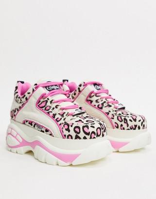 Buffalo David Bitton London Lowtop Sneaker in White and Pink Leopard