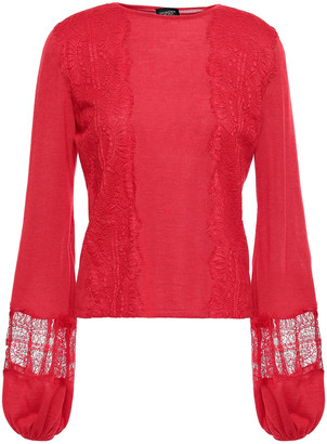 Giambattista Valli Lace-trimmed Cashmere And Silk-blend Top