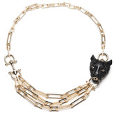 Alexis Bittar Crystal Encrusted Panther Chain Link Necklace
