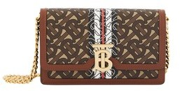 Burberry Small Monogram Stripe E-canvas Shoulder Bag