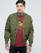 Alpha Industries Ma-1 Bomber Jacket Slim Fit In Dark Green
