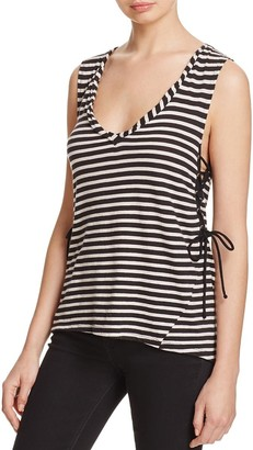 Pam & Gela Women's Striped Laceup Tank