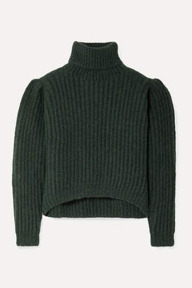Apiece Apart Nicola Ribbed Alpaca-blend Turtleneck Sweater - Dark green