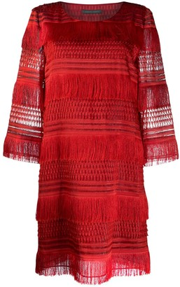 Alberta Ferretti Tassel Shift Dress