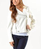 Paparazzi White Faux Leather Moto Jacket