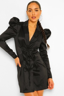 boohoo Taffeta Puff Sleeve Tie Front Blazer Dress
