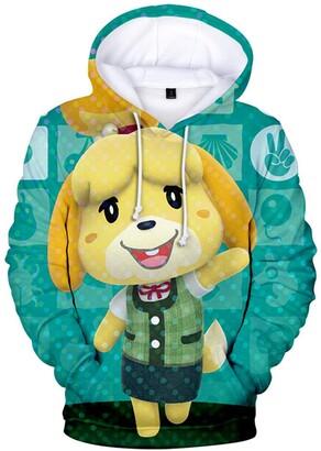 Silver Basic Womens Fashion Hoodie with Popular Video Game Animal Crossing Hoodie Cute Animal Print Hoodie for Ladies S