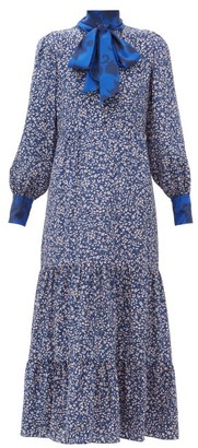 Beulah - Sandhya Floral-print Silk Dress - Womens - Navy Multi