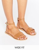 Asos FLIQUE Wide Fit Leather Flat Sandals