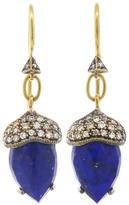Cathy Waterman Rose Cut Lapis Acorn Earrings with Diamonds - 22 Karat Gold