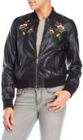 Joujou jou jou Embroidered Faux Leather Bomber Jacket