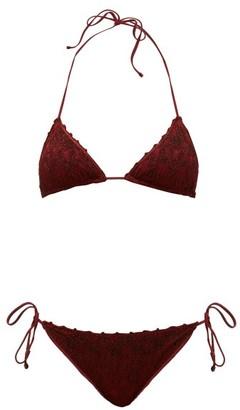 Missoni Mare - Side-tie Metallic-knitted Bikini - Womens - Burgundy