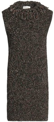 Valentino Open-back Marled Cotton And Wool-blend Tunic