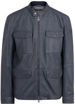 Boss Jeep Dark Blue Leather Jacket