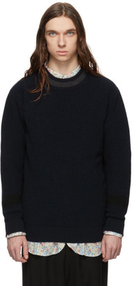 Comme des Garcons Homme Navy and Black Wool Crewneck Sweater
