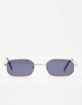 New Look small metal rectangle sunglasses in gold