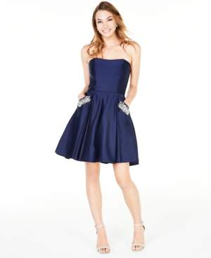 Blondie Nites Juniors' Strapless Pocket Dress