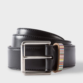 Paul Smith Men's Black Leather Belt With Signature Stripe Keeper