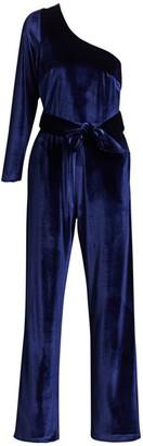 Carolina Ritzler One-Shoulder Velvet Belted Jumpsuit