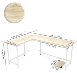 Overstock L-shaped Computer Corner Desk Wood board Steel frame Laptop Table Workstation Study Home Office