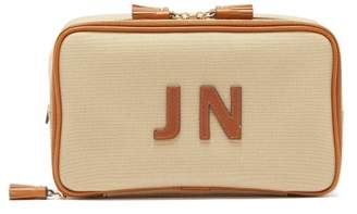 Anya Hindmarch Walton Customisable Leather And Canvas Wash Bag - Womens - Tan Multi