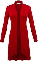 Meaneor Women's Long Sleeve Open Front Drape Lightweight Duster Cardigan M