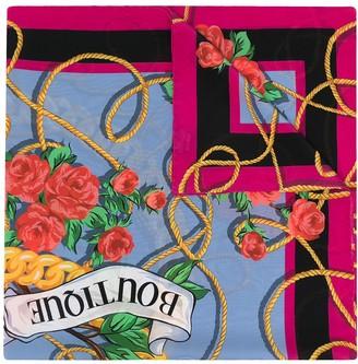 Moschino Logo Print Silk Scarf
