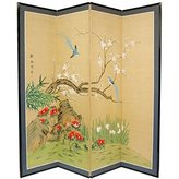 Oriental Furniture Asian Decor and Gifts, 72 by 72-Inch Birds and Flowers Japanese Style Brush Art Floor Screen Room Divider