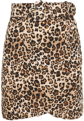 Nicholas Wrap-effect Belted Leopard-print Silk Crepe De Chine Mini Skirt