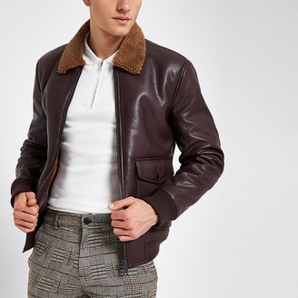 River Island Burgundy faux leather borg collar jacket