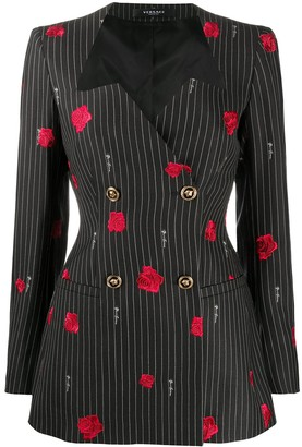 Versace Rose-Embroidered Pinstripe Blazer